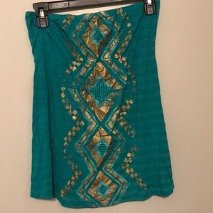 Turquoise and gold top